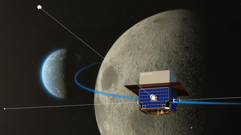 Artist's depiction of the DAPPER satellite in orbit around the moon.