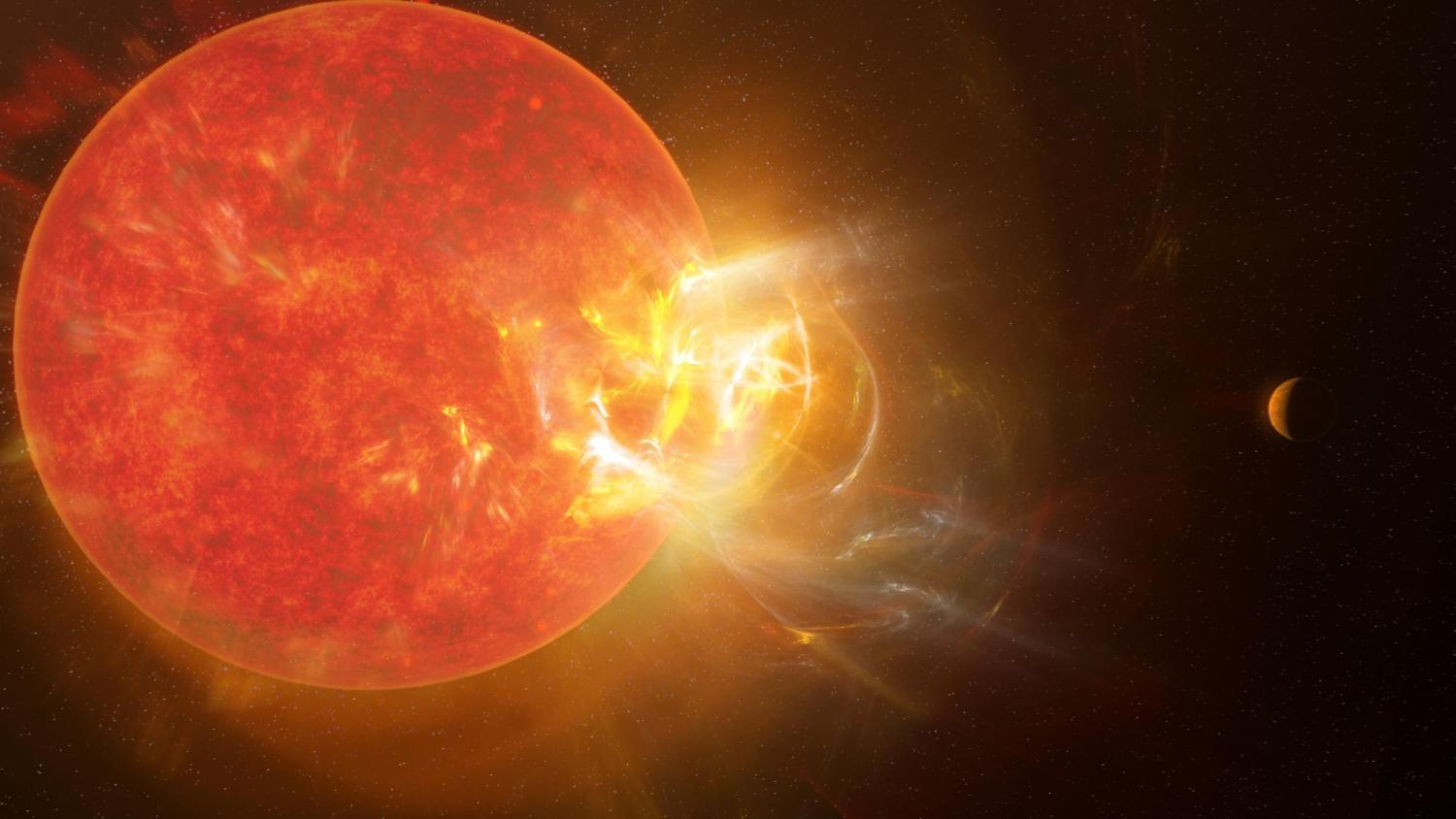 Artist's conception of a flare ejecting from a star with a planet nearby