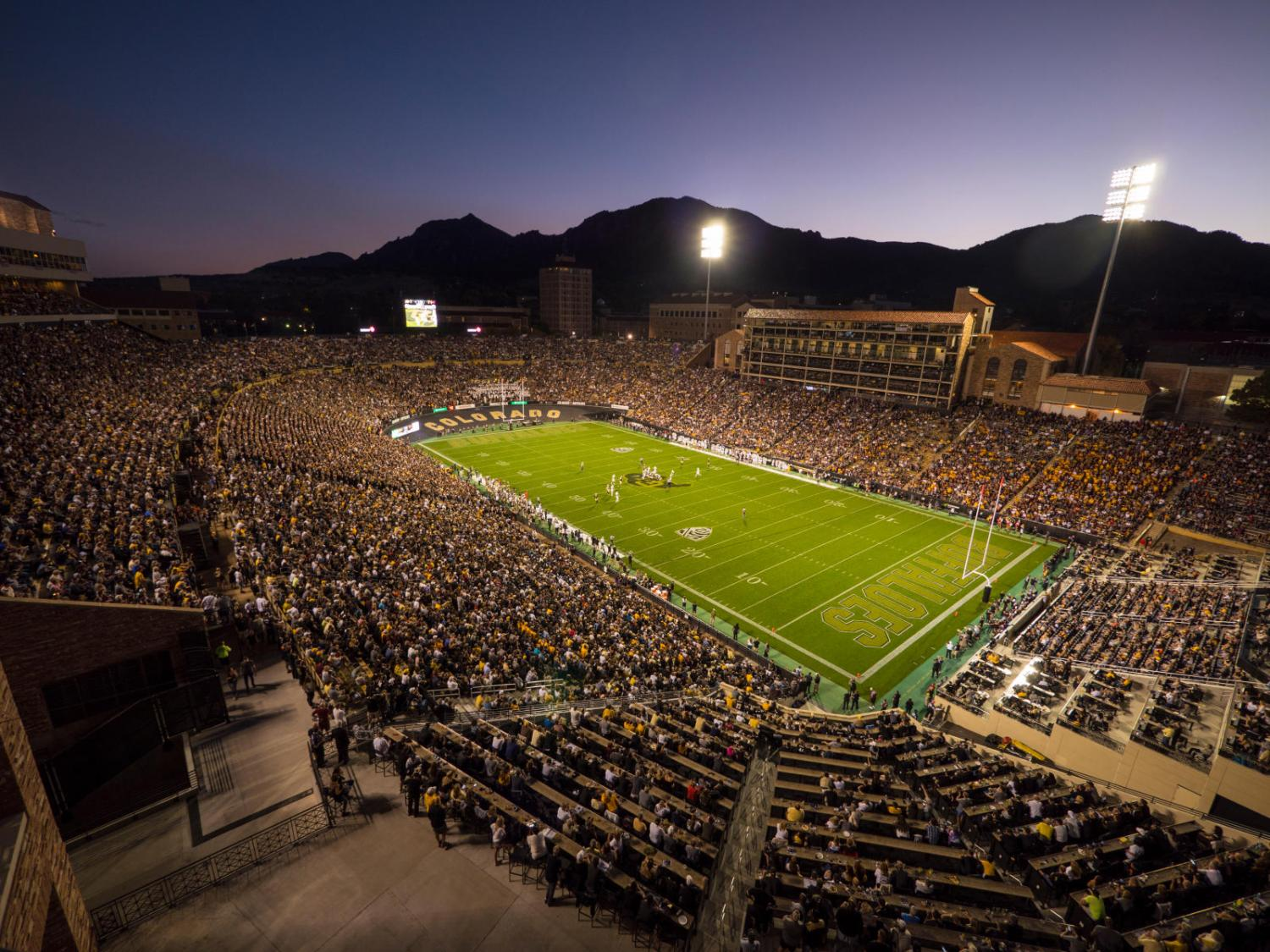 An aerial shot of Folsom Field