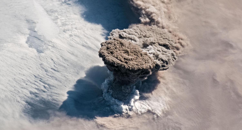 Raikoke Volcano erupts on June 22, 2019.