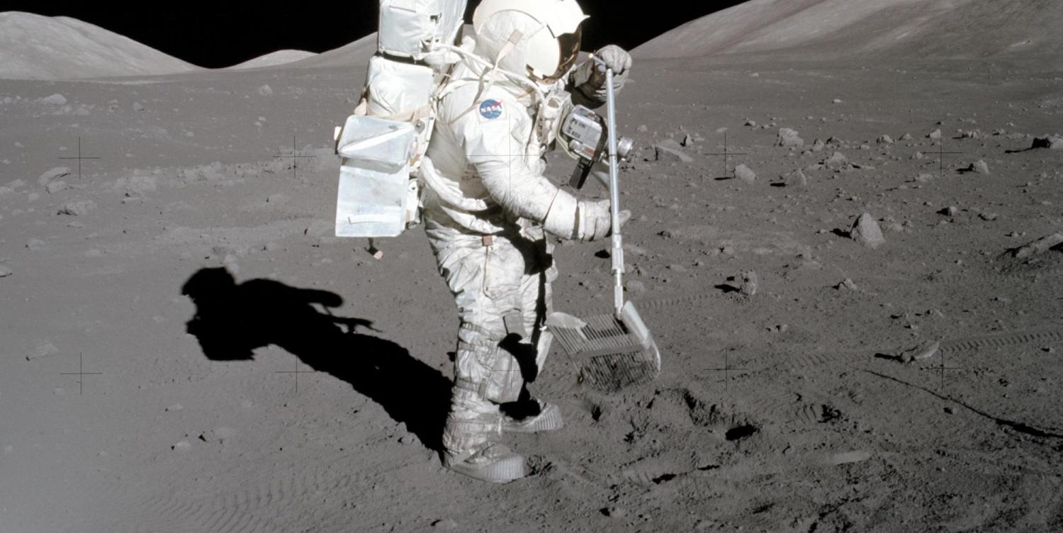 Dust sticks to the boots of Apollo 17 astronaut Harrison Schmitt in 1972.