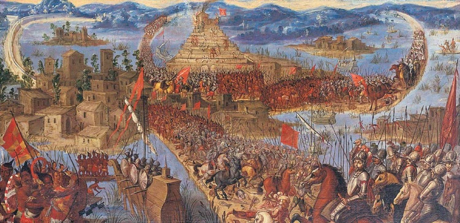 Painting of army invading the Aztec city of Tenochtitlan