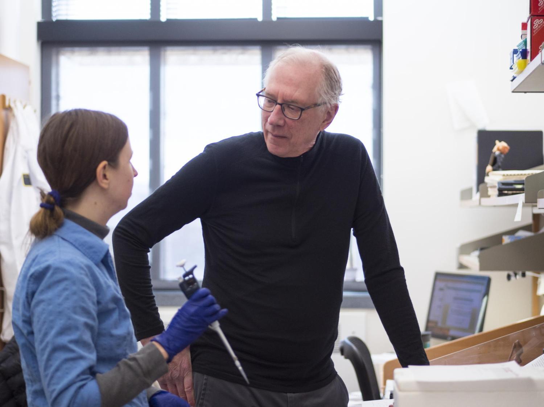 Tom Cech in lab