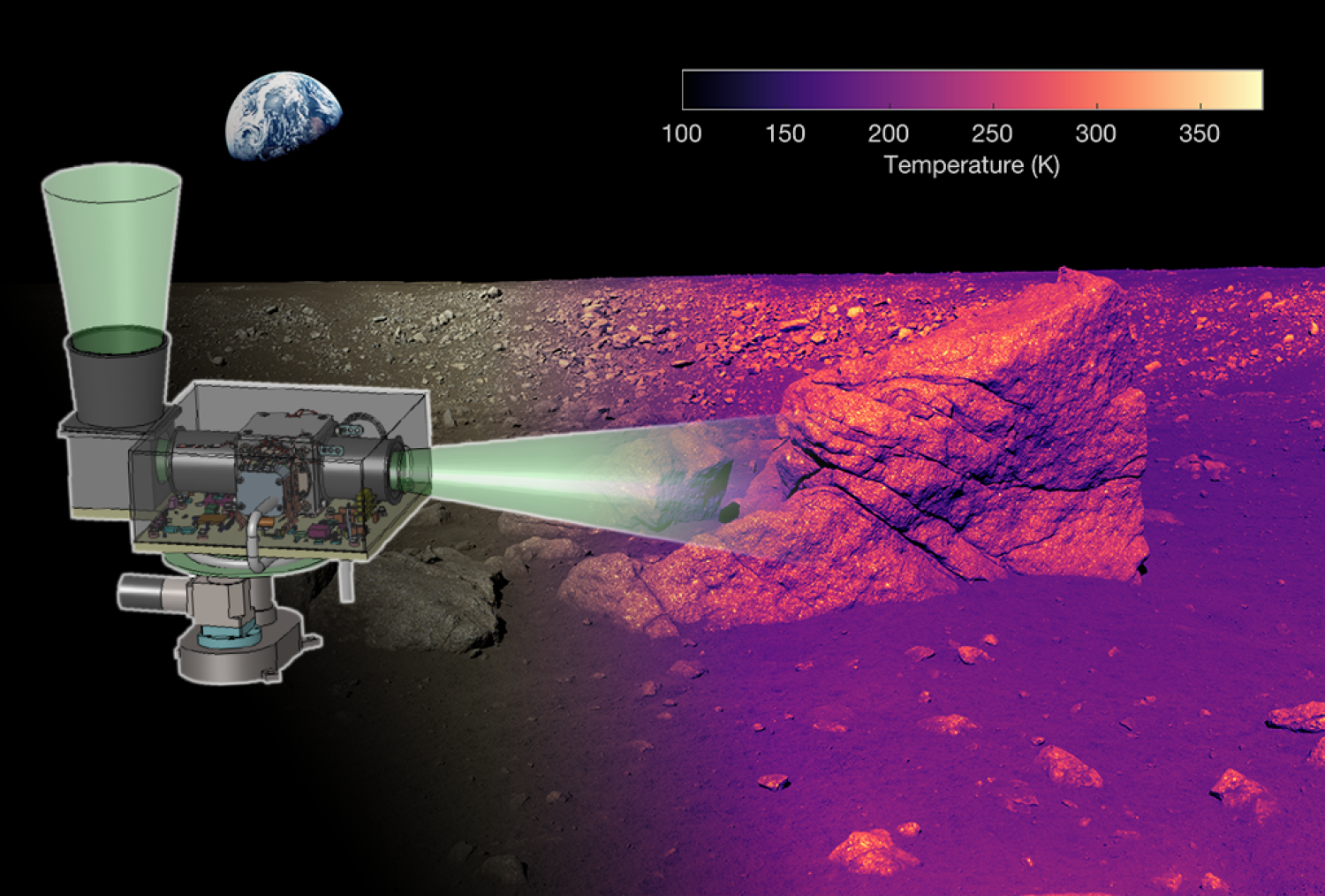 A simulation of the level of detail that L-CIRiS's infrared camera will reveal ofthe moon's surface.