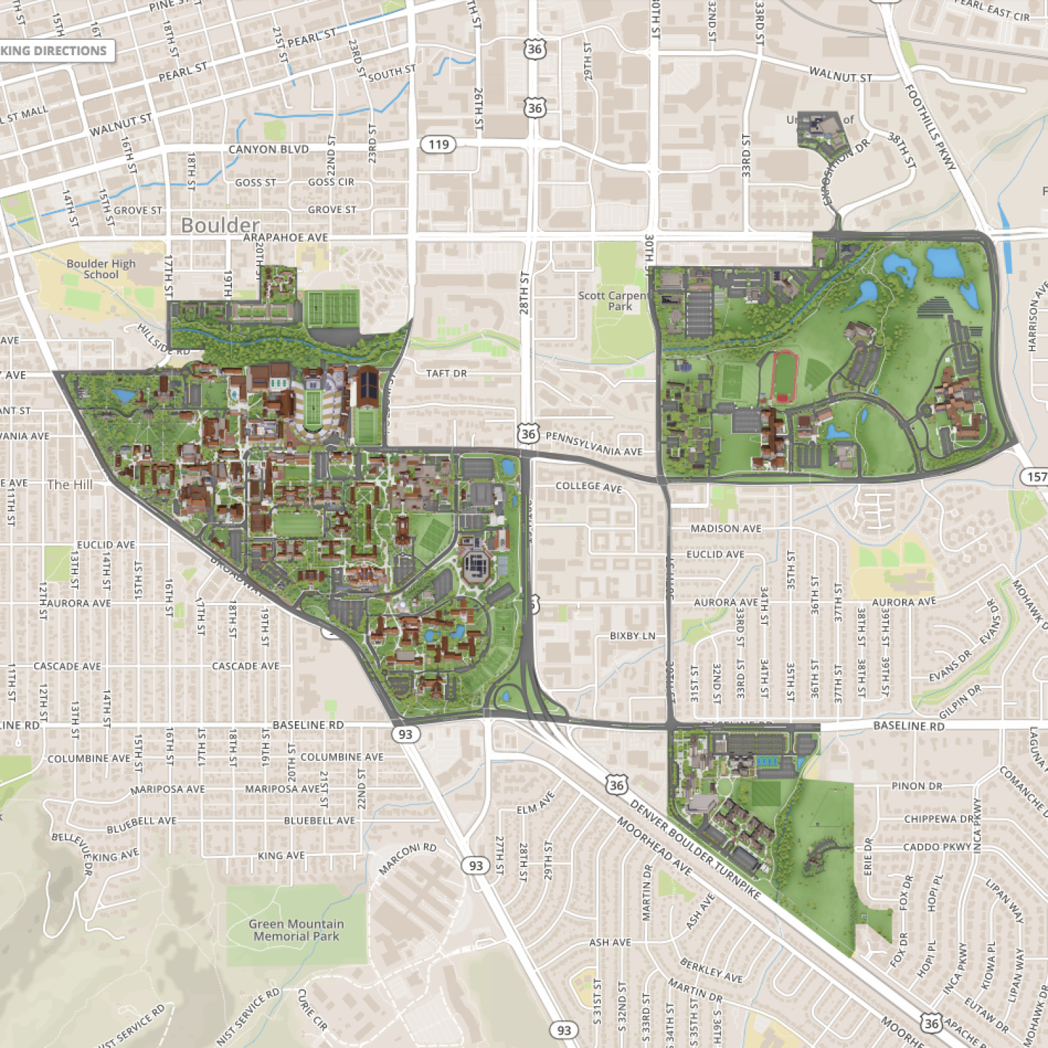 the new campus map includes main campus east campus williams village andbeyond. new campus map takes wayfinding to the next level  cu boulder