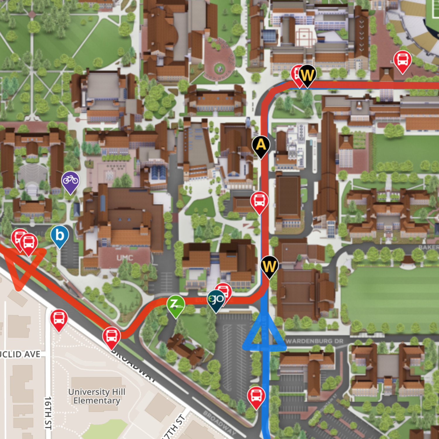 the map shows a portion of bus and bike locations and routes. new campus map takes wayfinding to the next level  cu boulder