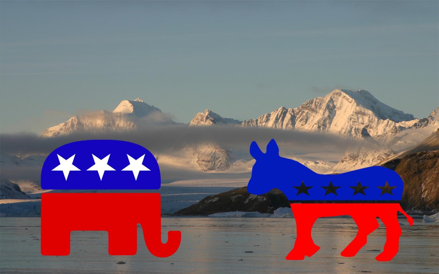Democrat and Republican logos over mountain background
