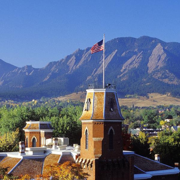 Aerial view of Old Main and Flatirons