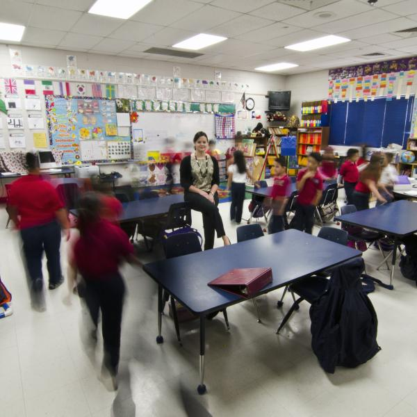 Adriana Alvarez in Texas classroom with students