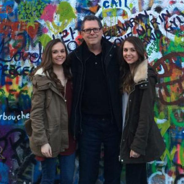 Sarah, Pat and Stephanie Meyers at the John Lennon Wall in Prague