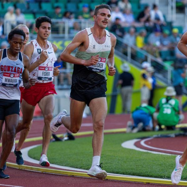 Joe Klecker competing in day 1 of the Olympic trials