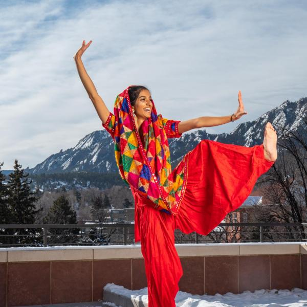 Serene Singh performs Bhangra dance on the deck of the CASE building