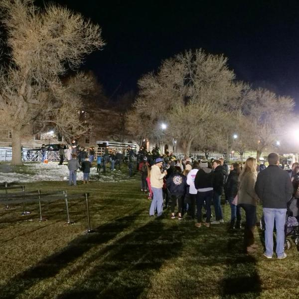 People line up early on Saturday, Nov. 23, 2019, to say farewell to the retiring Ralphie V ahead of Colorado's game against Washington. (Photo by Glenn Asakawa/University of Colorado)