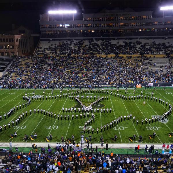 The Golden Buffalo Marching Band pays tribute to the retiring Ralphie V before Colorado's game against Washington on Saturday, Nov. 23, 2019. (Photo by Glenn Asakawa/University of Colorado)