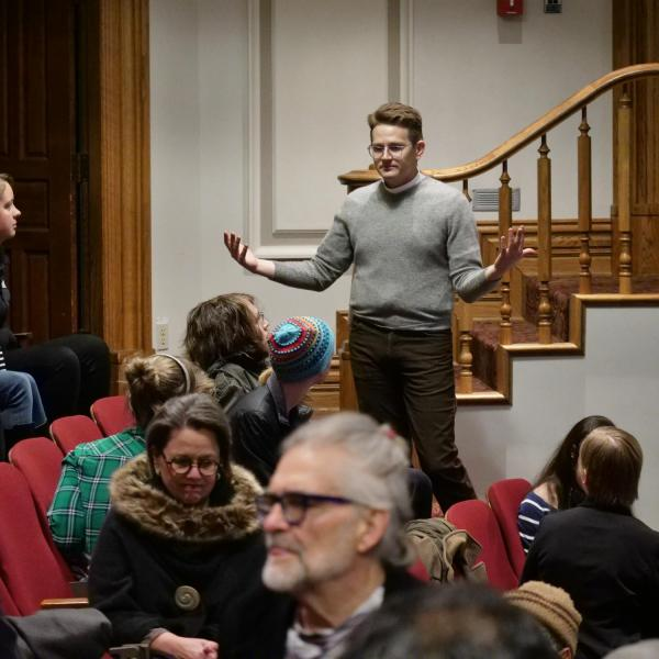 Pastor Zach Parris, Lutheran Campus Ministry, helps attendees engage in a dialogue at the MLK Day Celebration.