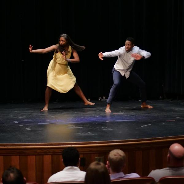 "Keith Hayes and Attiyya Fortune, CU Department of Theatre & Dance, perform ""The Fact of Blackness"" at the Day Celebration."