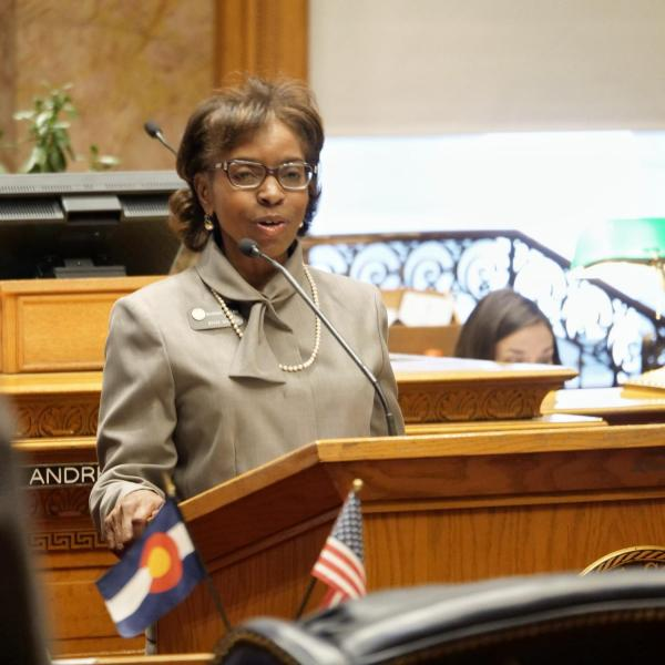 State Senator Rhonda Fields provides a tribute on the senate floor in honor of Lucille Buchanan.