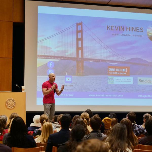 Suicide survivor and prevention advocate Kevin Hines speaks on campus. Photo by Glenn Asakawa.