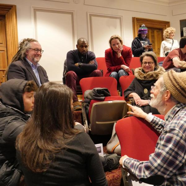 Local community and CU Boulder community members engage in a dialogue at the first half of the MLK Day Celebration.
