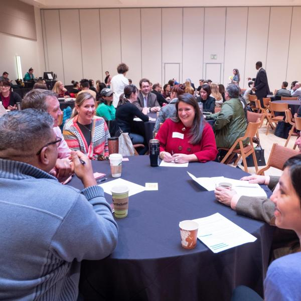 "Members of the CU community meet with CU Boulder leadership in small groups during the CU Leadership ""Unplugged"" session. Photo by Glenn Asakawa."