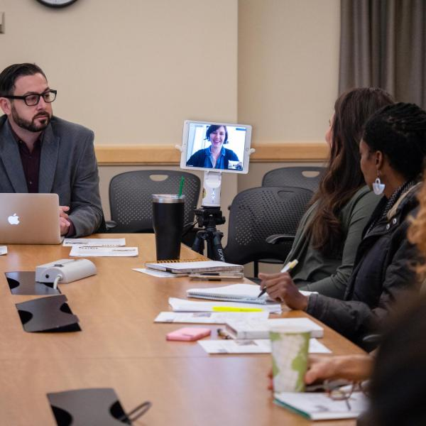 A participant joins in on a discussion using a Kubi device during the Extending Student Support through Remote Presence Technology with Tarah Dykeman. Photo by Glenn Asakawa.