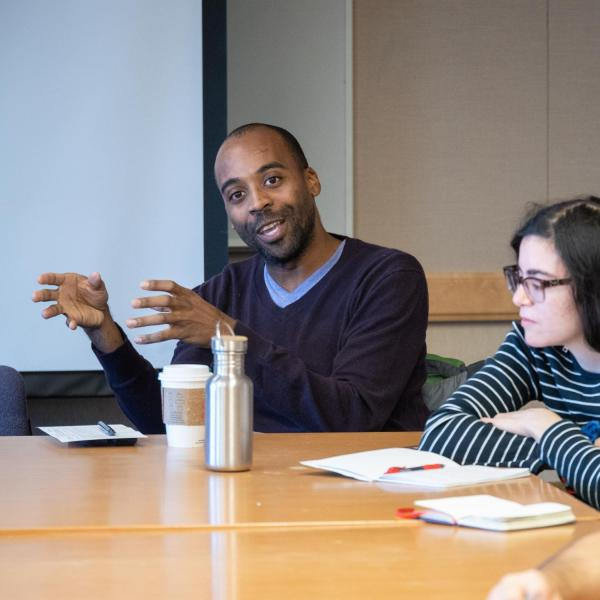 Graduate Students of Color Listening Session with Hillary Steinberg and Juan Garcia Oyevides, United Government of Graduate Students (UGGS). Photo by Glenn Asakawa.