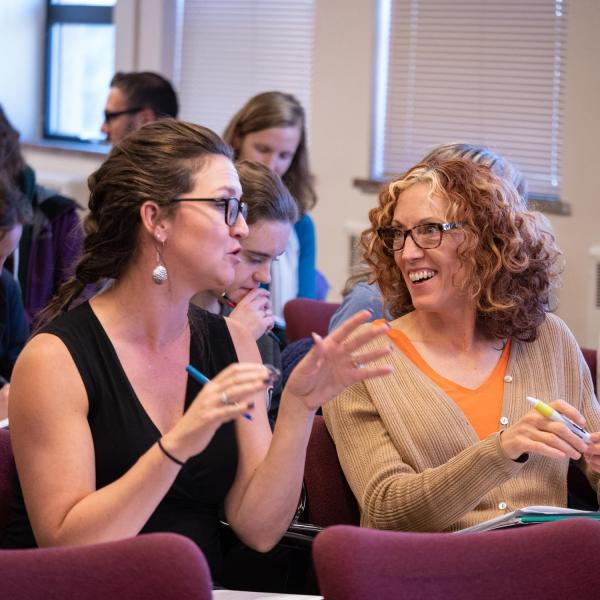 Participants are prompted to discuss with each other during Unapologetically Me: Navigating Authenticity at the Workplace with Kyla Hines, Career Counselor, CU Denver. Photo by Glenn Asakawa.