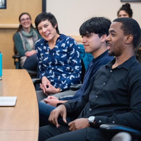 Graduate student Javan Carter kicks off a discussion on how to increase diversity in graduate programs. Photo by Glenn Asakawa.