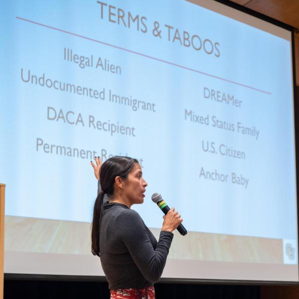 Violeta Chapin, associate clinical professor of law, speaks at a session titled UndocuAlly: Support & Inclusivity for Undocumented Students. Photo by Glenn Asakawa.