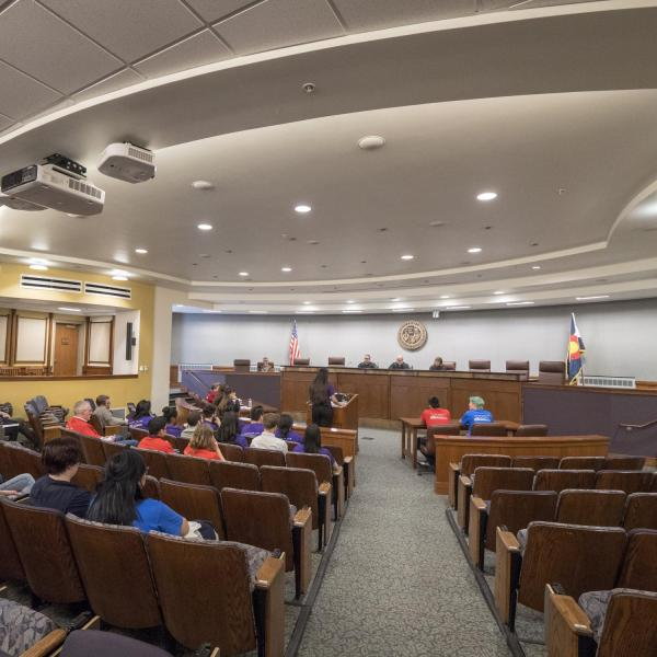 Metro area high school students participate in the final round of the 2018 Moot Court competition. Photo by Glenn Asakawa.