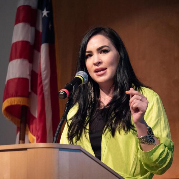 Author and Colorado native Kali Fajardo-Anstine provides the keynote speaker the CU Boulder 2020 Spring Diversity Summit. (Photo by Glenn Asakawa/University of Colorado)