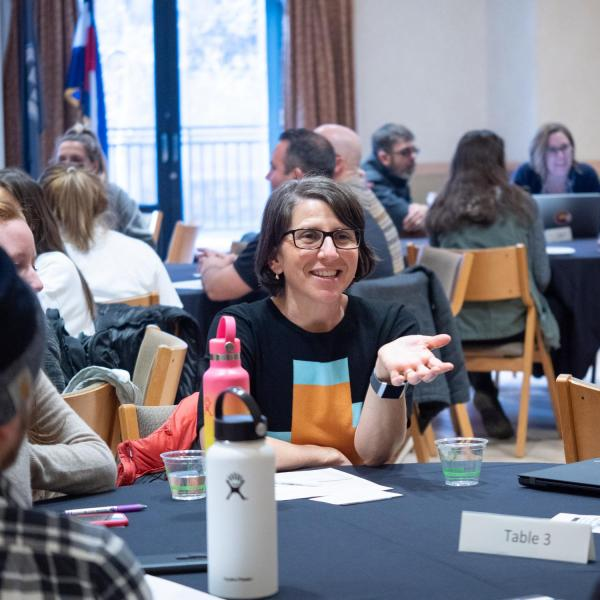 """Participants gather and collaborate during a session titled """"Students Unplugged: Communicating Effectively and Authentically"""" at the CU Boulder 2020 Spring Diversity Summit. (Photo by Glenn Asakawa/University of Colorado)"""