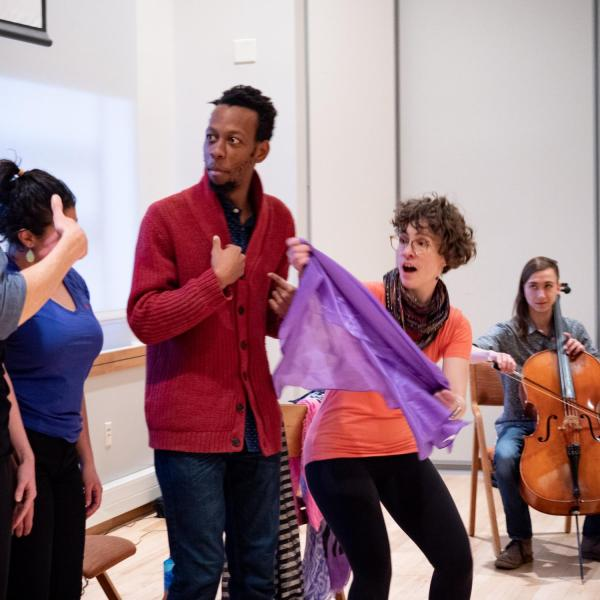 """Members of the CU Playback Theatre Ensemble perform during a session titled """"Playing with Intention: Workshop & Performance"""" at the CU Boulder 2020 Spring Diversity Summit. (Photo by Glenn Asakawa/University of Colorado)"""