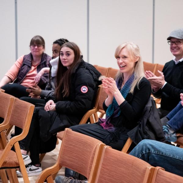 """Audience and participants applaud members of the CU Playback Theatre Ensemble during a session titled """"Playing with Intention: Workshop & Performance"""" at the CU Boulder 2020 Spring Diversity Summit. (Photo by Glenn Asakawa/University of Colorado)"""