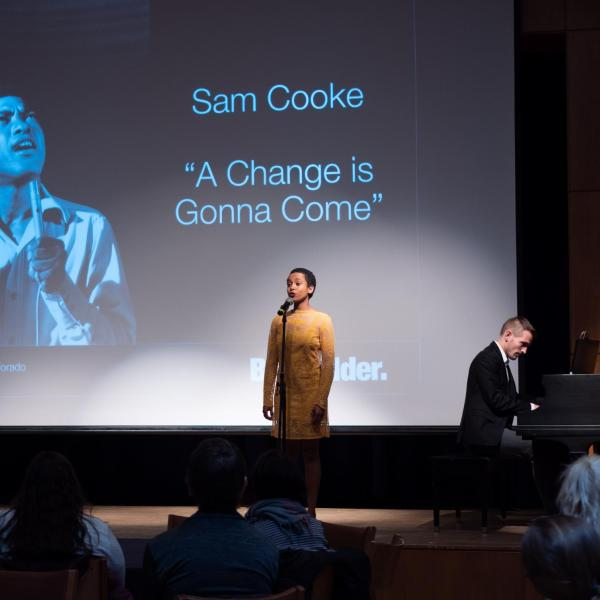 """CU Boulder College of Music students Asha Romero and Lennart Triescchin perform the Sam Cooke song """"A Change is Gonna Come"""" during the CU Boulder 2020 Spring Diversity Summit. (Photo by Glenn Asakawa/University of Colorado)"""