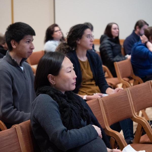 """Speakers, staff and participants listen and discuss points on the session titled """"Purposeful and Inclusive Staff Hiring"""" at the CU Boulder 2020 Spring Diversity Summit. (Photo by Glenn Asakawa/University of Colorado)"""