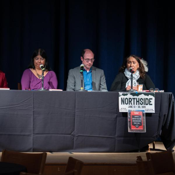 """Speakers, staff and participants listen and discuss points on the session titled """"Power of Place: Gentrification and Identity through the Lens of 'Sabrina & Corina:' Stories"""" in the CU Boulder 2020 Spring Diversity Summit. (Photo by Glenn Asakawa/University of Colorado)"""