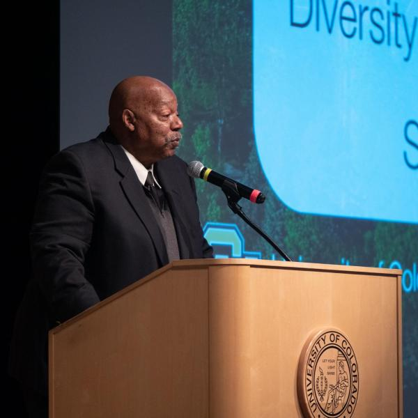 Alphonse Keasley, associate vice chancellor in the Office of Diversity, Equity and Community Engagement, kicks off the CU Boulder 2020 Spring Diversity Summit. (Photo by Glenn Asakawa/University of Colorado)