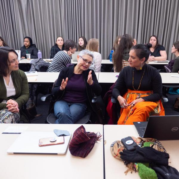 """Speakers, staff and participants listen and discuss points on the session titled """"Cultural Appropriation is Real, but What Exactly is it?"""" at the CU Boulder 2020 Spring Diversity Summit. (Photo by Glenn Asakawa/University of Colorado)"""