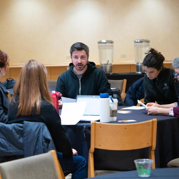 """Faculty members discuss points on the session titled """"Finding the 'Us' in Inclusion: What Do You Need to Be an Inclusive Educator?"""" at the CU Boulder 2020 Spring Diversity Summit. (Photo by Glenn Asakawa/University of Colorado)"""