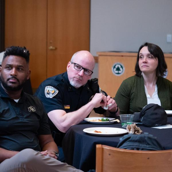 """Participants listen as Dyonne Bergeron, assistant vice chancellor for inclusion and student achievement, leads a collaborative discussion at her session titled """"The Power of U In Community"""" at the CU Boulder 2020 Spring Diversity Summit. (Photo by Glenn Asakawa/University of Colorado)"""