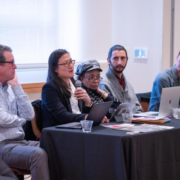 """A faculty panel contributes to a session titled """"CU Boulder History Project: Faculty Panel Discussion and Community Q&A"""" at the CU Boulder 2020 Spring Diversity Summit. (Photo by Glenn Asakawa/University of Colorado)"""
