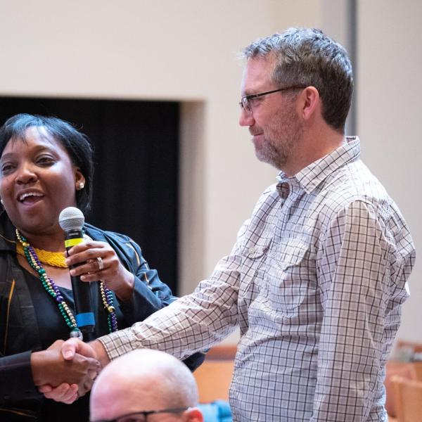 """Dyonne Bergeron, assistant vice chancellor for inclusion and student achievement, leads a collaborative discussion at her session titled """"The Power of U In Community"""" at the CU Boulder 2020 Spring Diversity Summit. (Photo by Glenn Asakawa/University of Colorado)"""