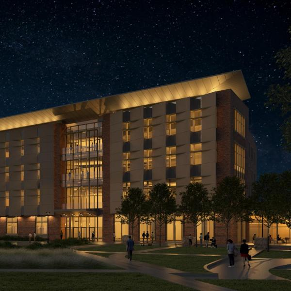 New aerospace engineering building at nighttime