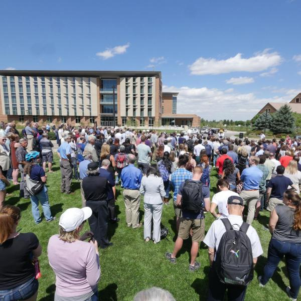 A crowd watches the ribbon-cutting ceremony at the new Aerospace Engineering Sciences Building at CU Boulder. (Photo by Casey A. Cass/CU Boulder)