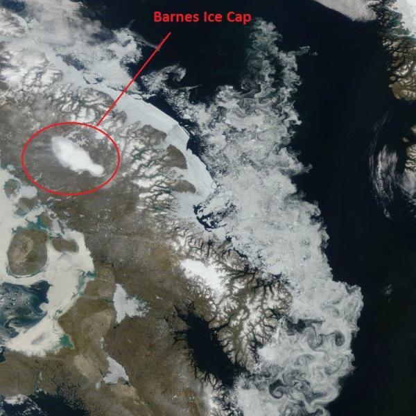 Aerial view of Barnes Ice Cap
