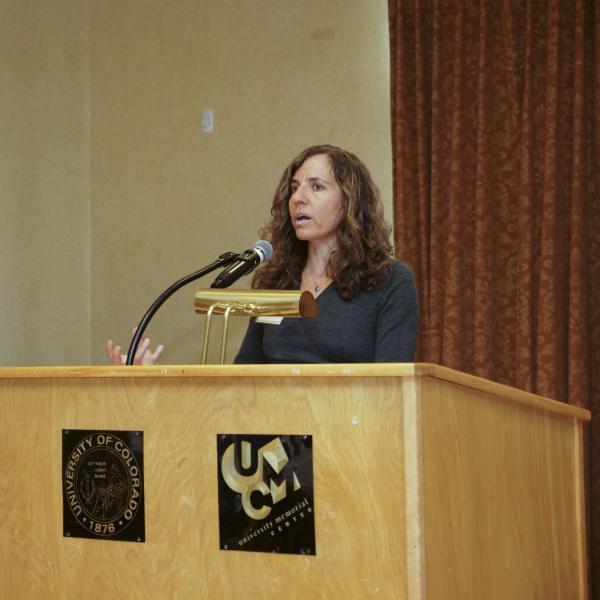2018 Hazel Barnes award winner Sarah Krakoff speaks at the 2019 BFA Excellence Awards & Reception.