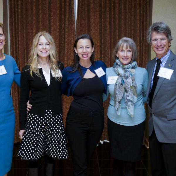 Leadership & Service Award Selection Committee Chair Shelly Miller (second from left) poses with award recipients Erin Furtak (far left), Erika Randall (center), Leslie Irvin (right), and Paul Beale (far right).
