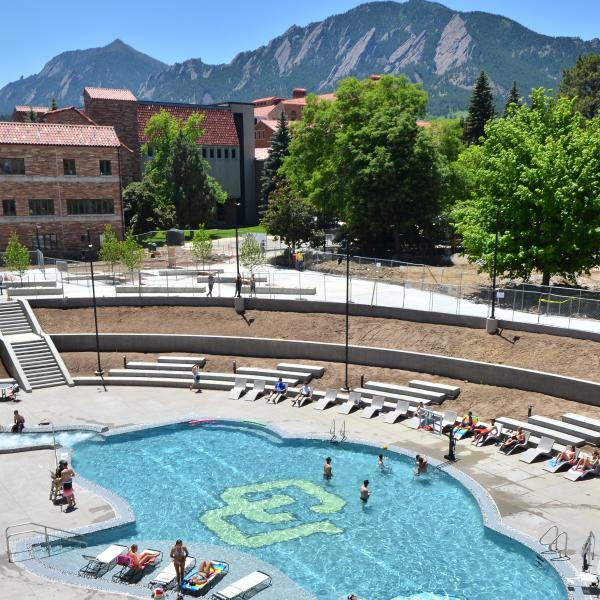 CU buffalo-shaped pool at the Student Recreation Center