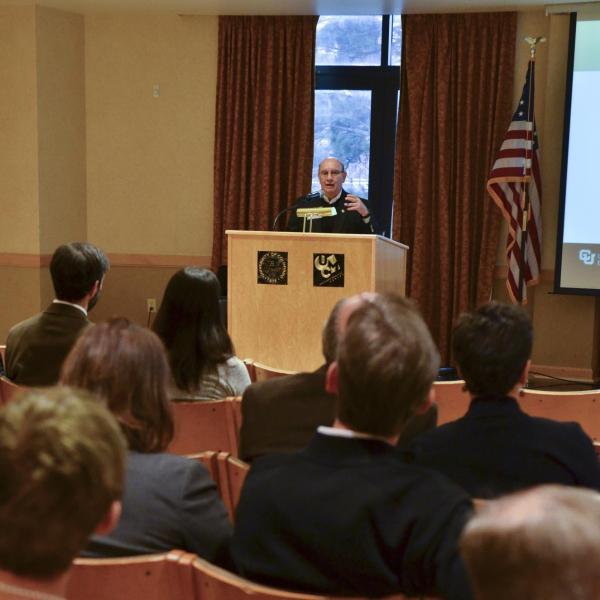 Chancellor DiStefano gives remarks at the Faculty Awards Celebration.